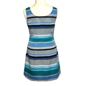 Loft Blue Striped Sleeveless Dress Size 14